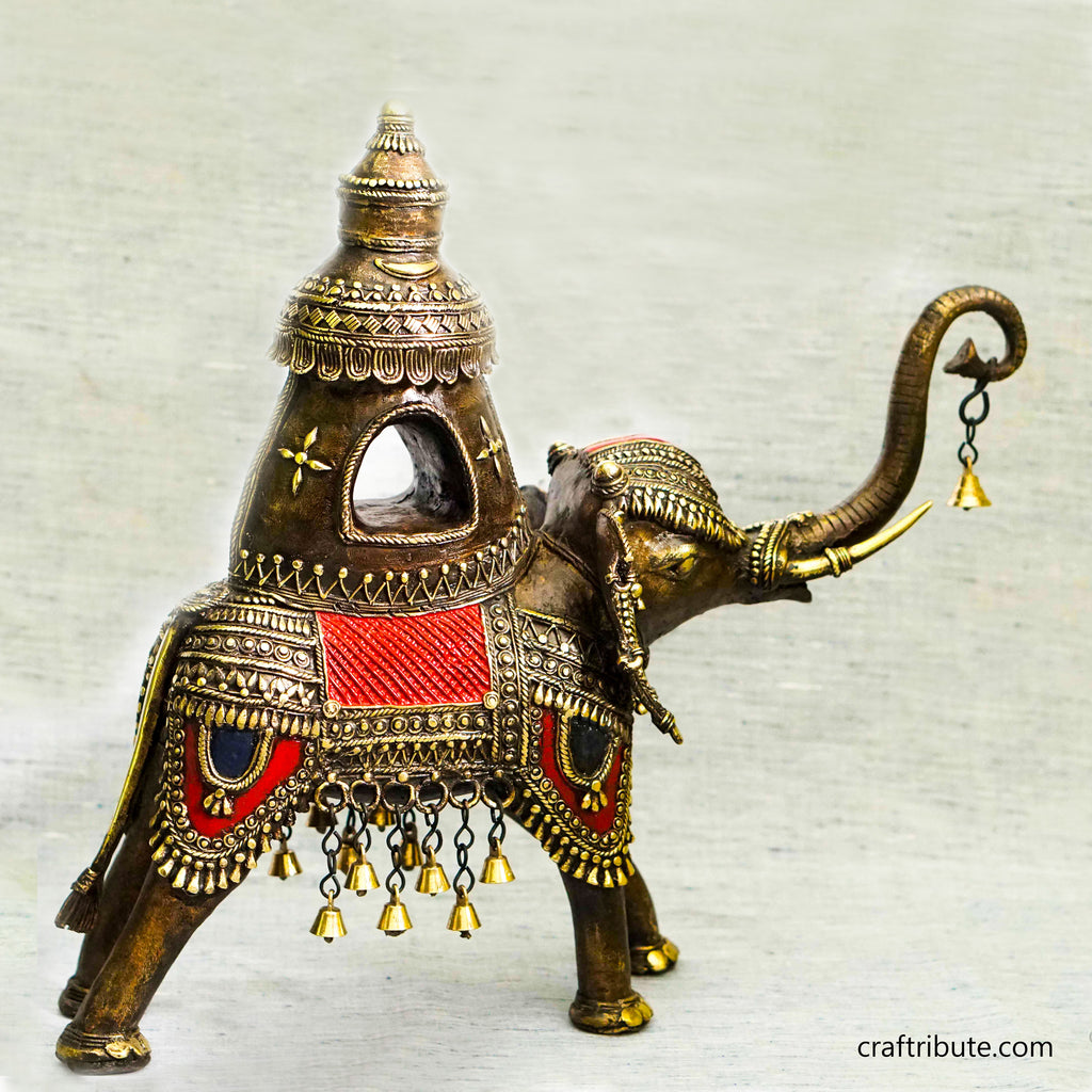 Handcrafted Dhokra Royal Elephant with Howdah