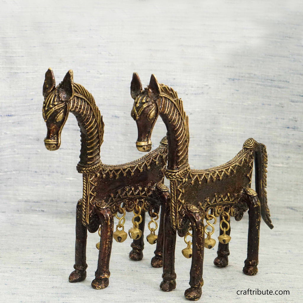 Handcrafted Dhokra Decorative Horse Pair
