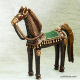 Handcrafted Dhokra Decorative Horse with Green Saddle