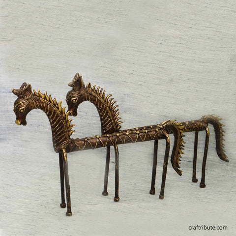 Handcrafted Dhokra Elongated Horse Pair