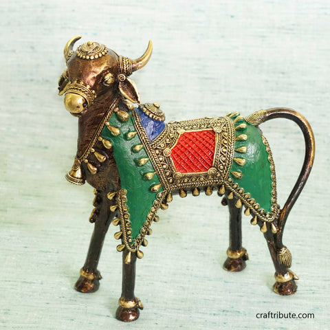 Handcrafted Dhokra Standing Nandi