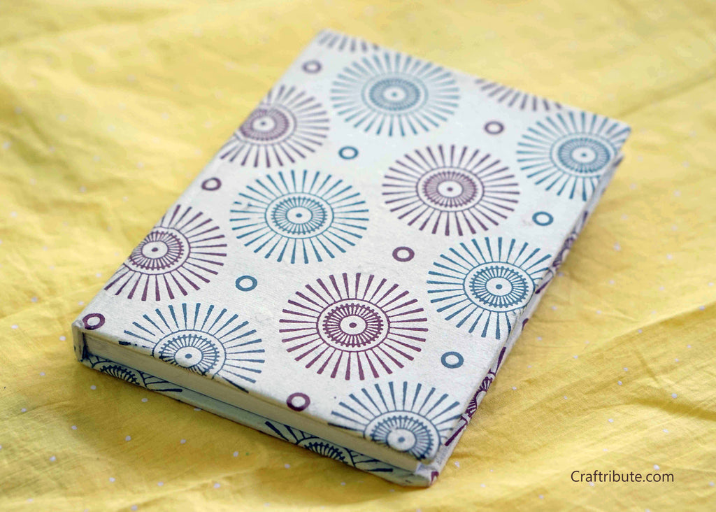 Handmade Paper Notebook with sun rays design