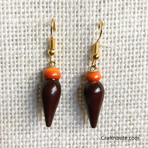 Tear Drop Shape Wooden Earrings - Orange & Brown