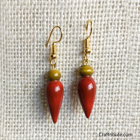 Tear Drop Shape Wooden Earrings - Olive Green & Red
