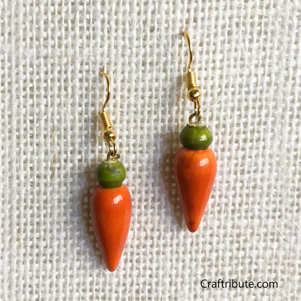 Tear Drop Shape Wooden Earrings - Olive Green & Orange