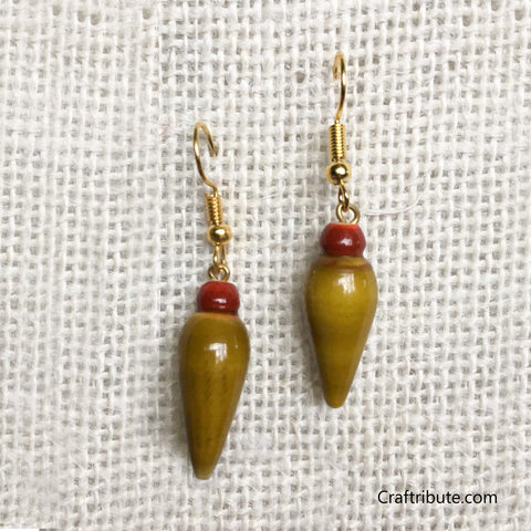 Tear Drop Shape Wooden Earrings - Red & Olive Green