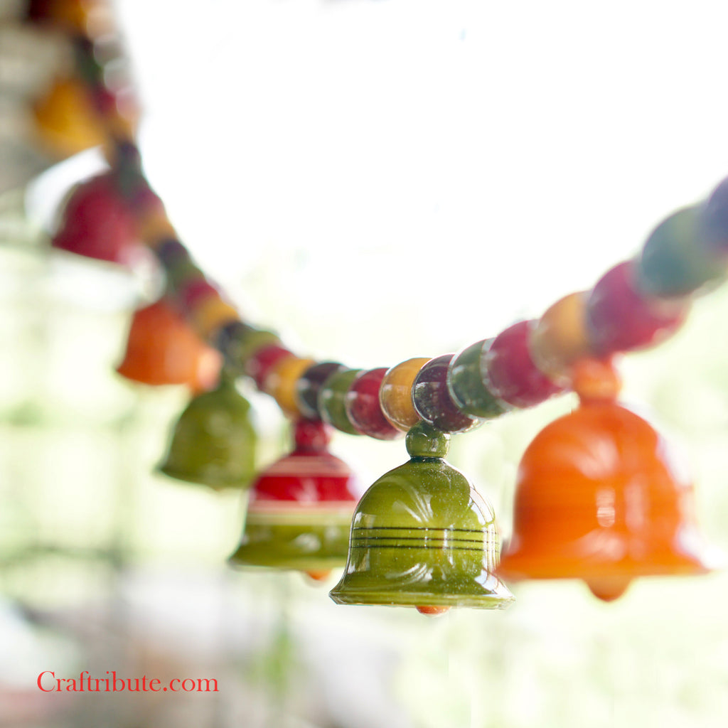Beads and Bells - Wooden Toran