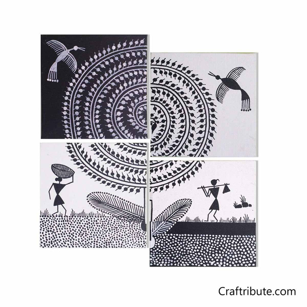Warli Paintings Set Tree Black White