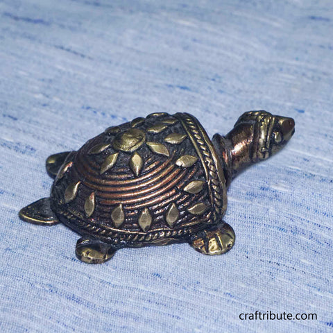 Handcrafted Dhokra Tortoise -Small