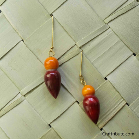 Tear Drop Shape Wooden Earrings - Orange & Red