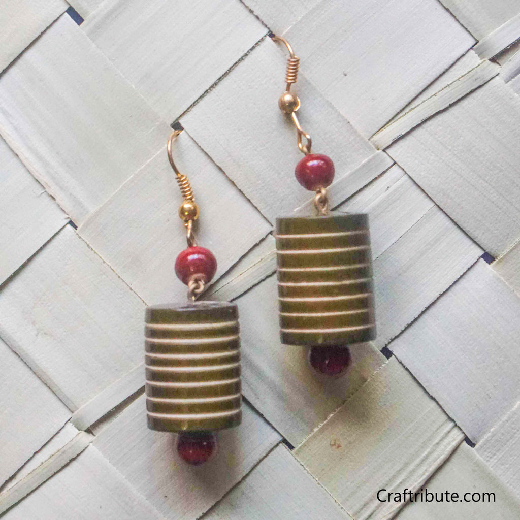 Cylindrical Shape Wooden Earrings with lines