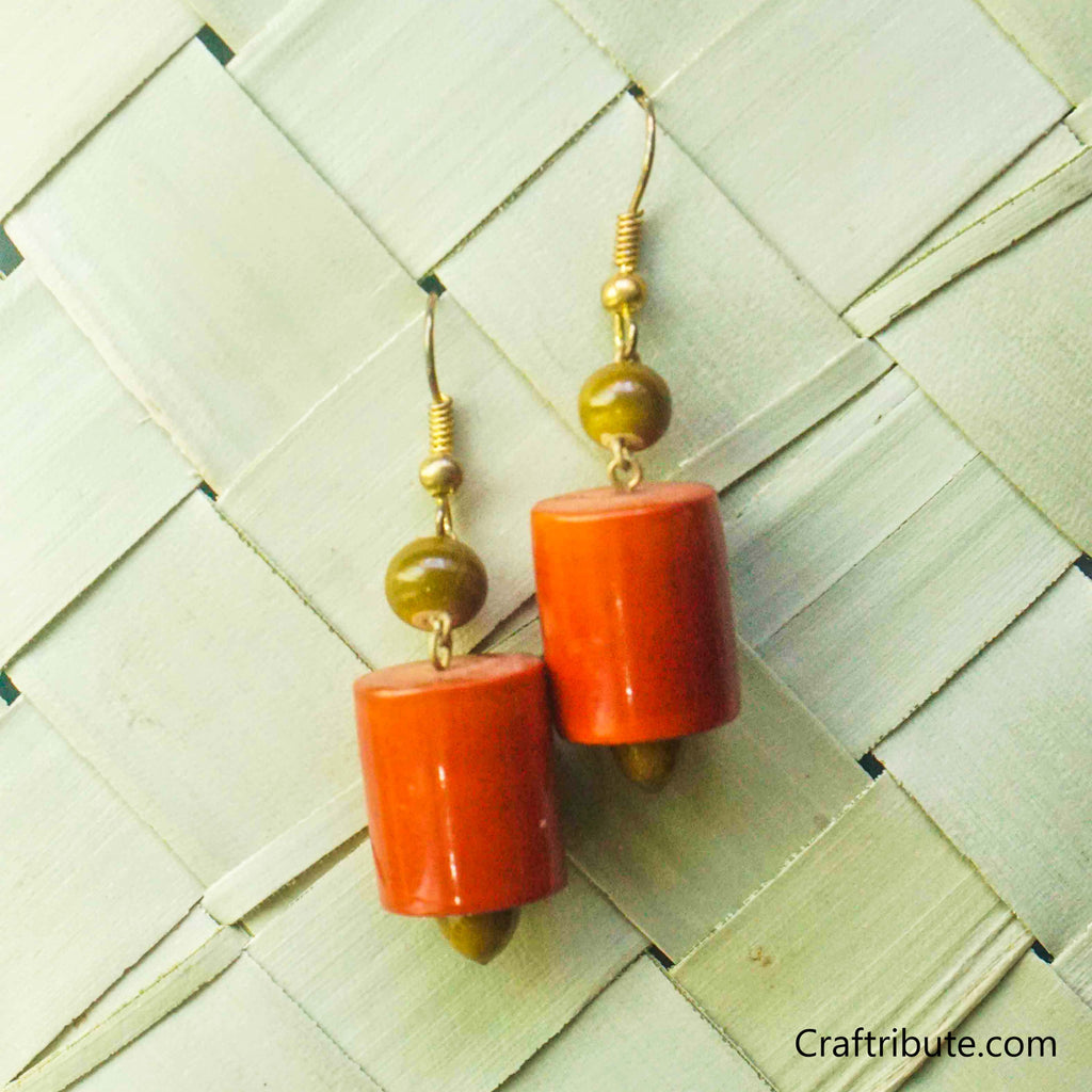 Cylindrical Shape Wooden Earrings