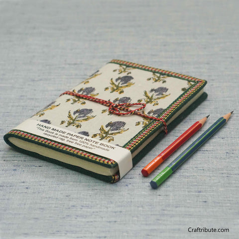 Handmade Paper Notebook with Blue Floral Design