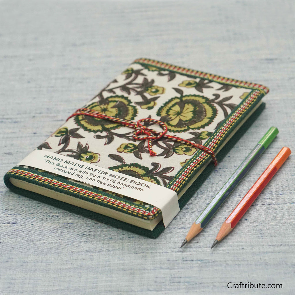Handmade Paper Notebook with white & Green Floral Design