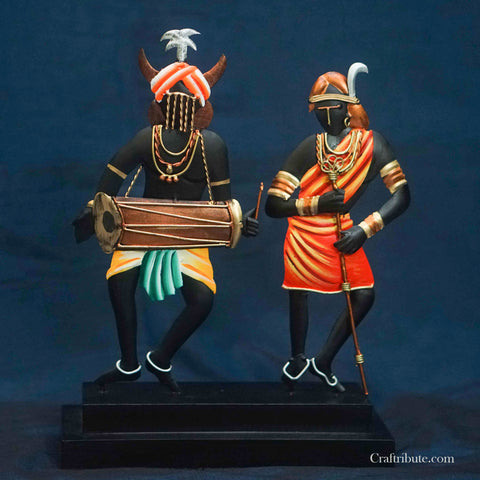 Handcrafted Wrought Iron Dancing Tribal Couple