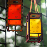 Handmade Wooden Lanterns - Red and Yellow