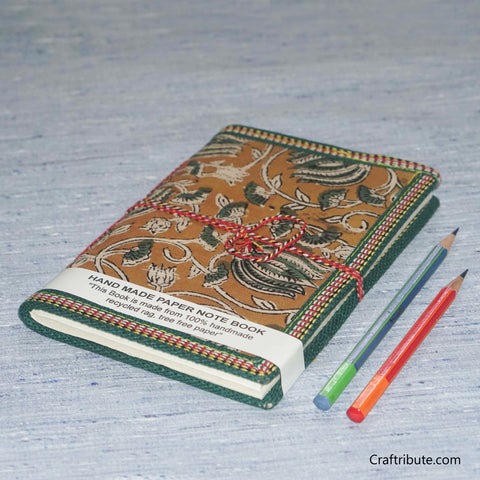 Handmade Paper Notebook with Green Floral Design