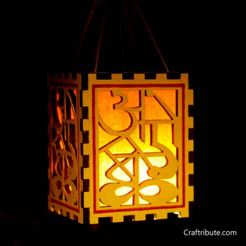 Handmade Wooden Alphabets Lamp - Yellow