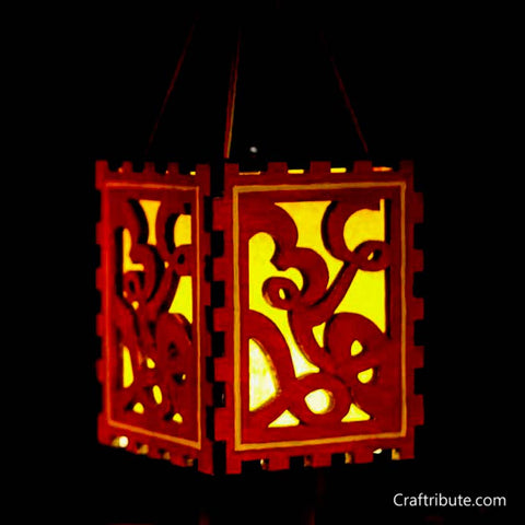 Handmade Wooden Numbers Lamp - Red