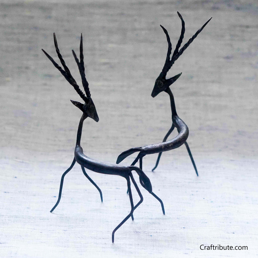 Handcrafted Wrought Iron Decorative Deer Set