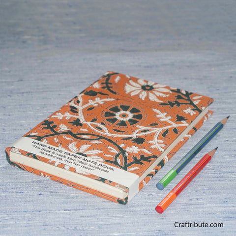 Handmade Paper Notebook With Green & White Floral Design