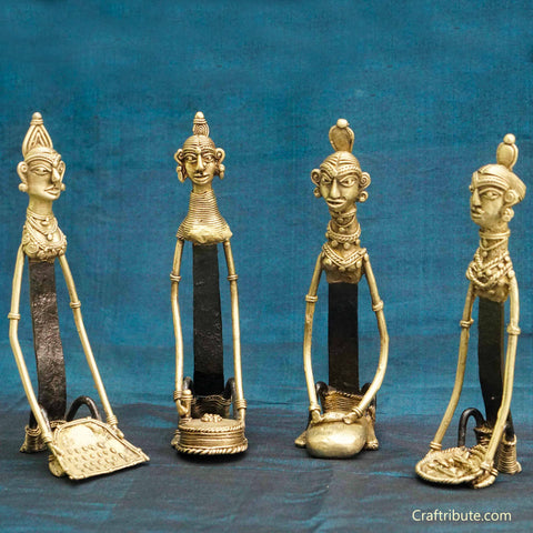 Handcrafted Dhokra Figurines - Set of Four Women engaged in Household Chores