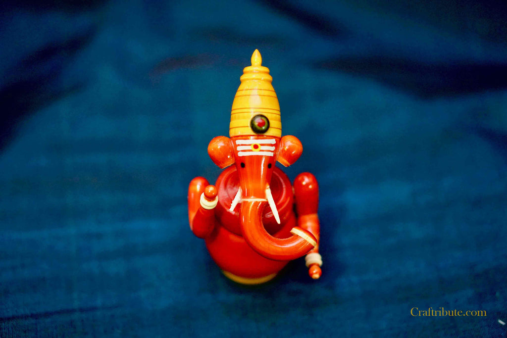 Ganesh - Handpainted wooden idol