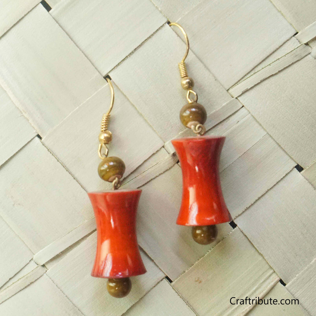 Hour Glass Shape Wooden Earrings
