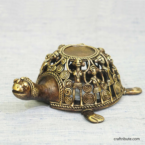 Handcrafted Dhokra Brass Tortoise Aroma Burner Cum Candle Stand