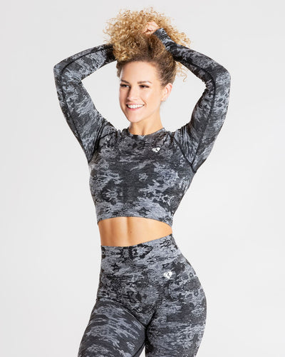 Camo Seamless Long Sleeve Crop Top | Black
