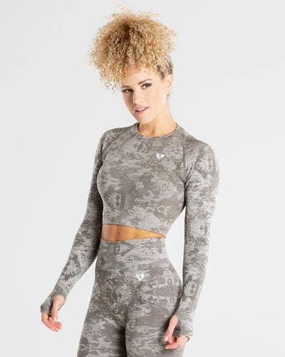 Camo Seamless Long Sleeve Crop Top | Green
