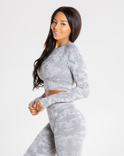 Camo Seamless Long Sleeve Crop Top | Grey