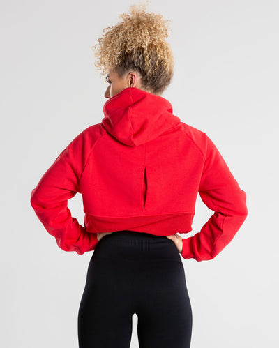 True Mesh Cropped Hoodie | Red