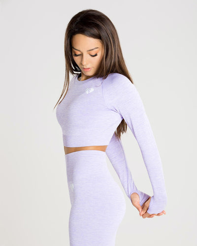 Move Seamless Long Sleeve Crop Top | Lilac Marl