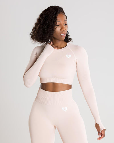 Power Seamless Long Sleeve Crop Top | Nude