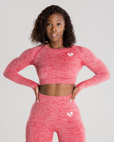 Move Seamless Long Sleeve Crop Top | Red Marl