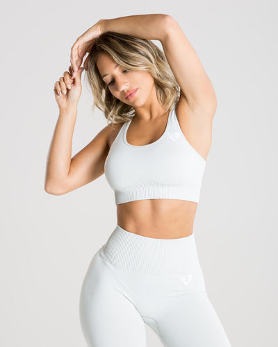 Power Seamless Sports Bra | Washed Light Grey