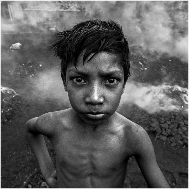 Portrait of Boy in Coal Fields, Jharia, India.