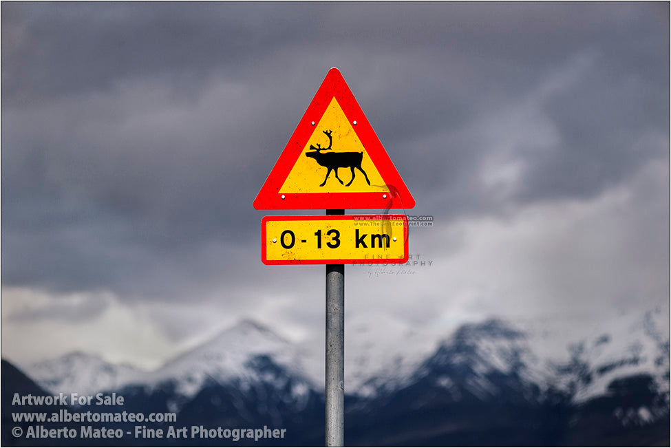 Wildlife warning plate and mountain range, Iceland. (Alberto Mateo)