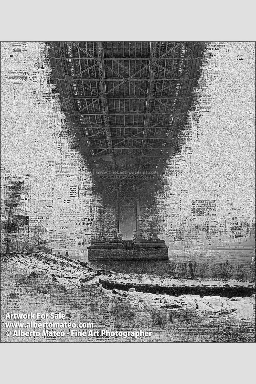 Manhattan Bridge in Blizzard, Manhattan, New York. | Limited Edition Fine Art Print.