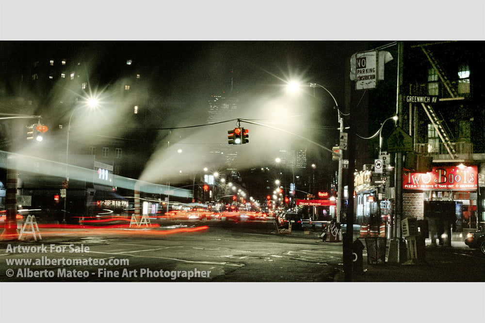 Greenwich Village by night, Panoramic Print, Manhattan, New York.