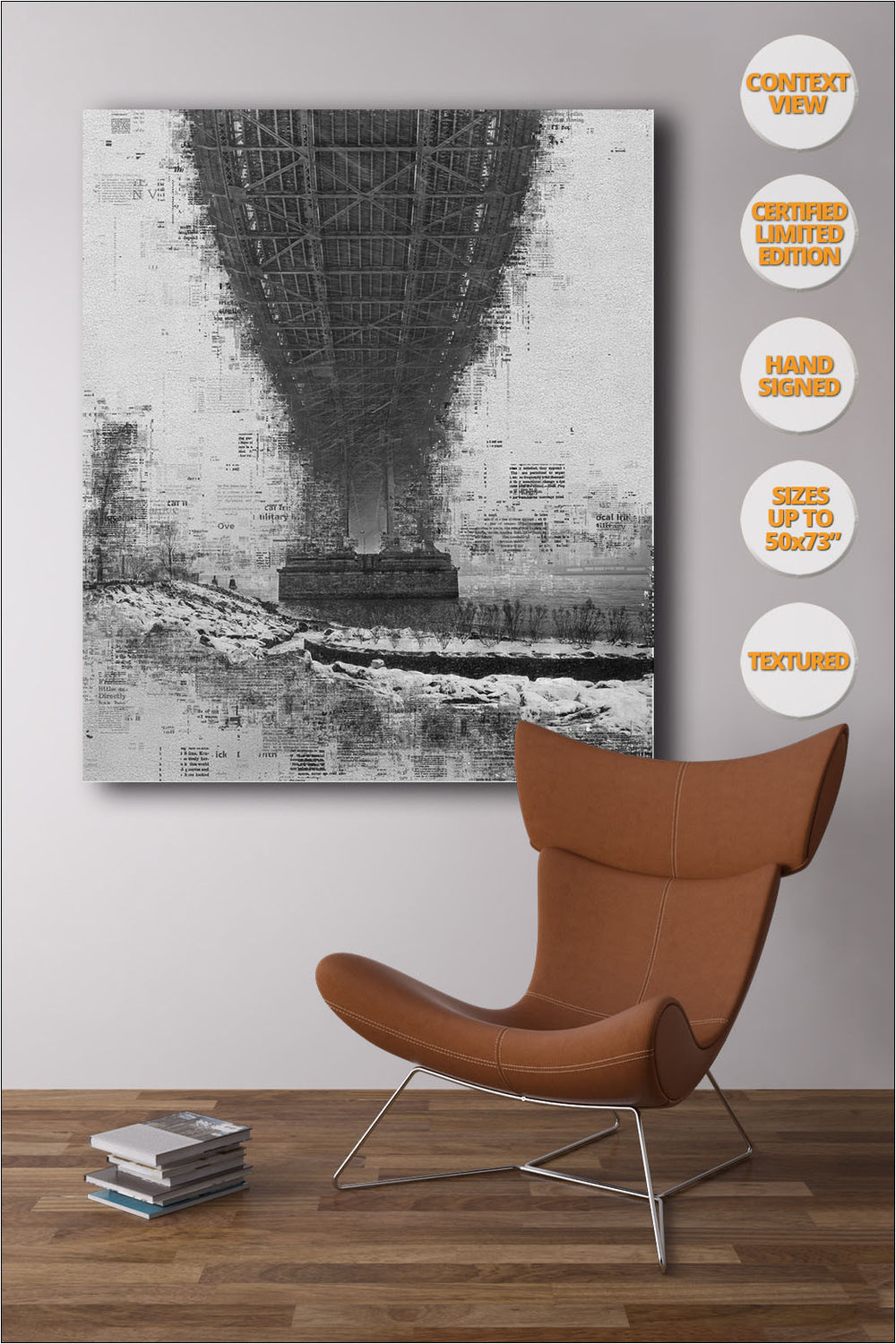Manhattan Bridge in Blizzard, Manhattan, NYC. | Open Edition Fine Art Print.