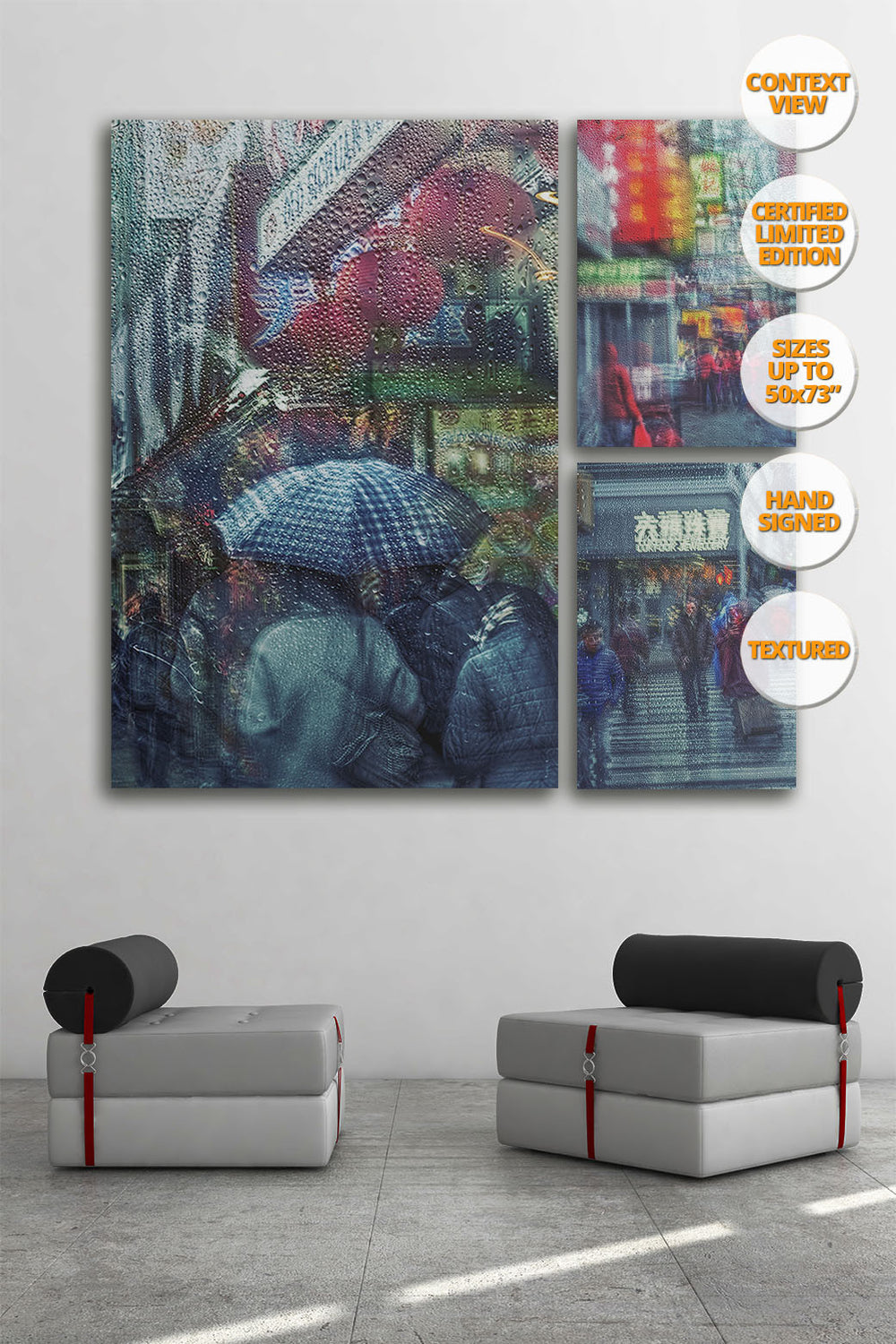 Rain in Chinatown, New York. [1/3] | New York Through the Rain Series. | Print hanged in meeting room.