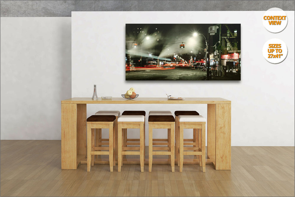 Greenwich Village by night. | Panoramic Print hanged in living room.