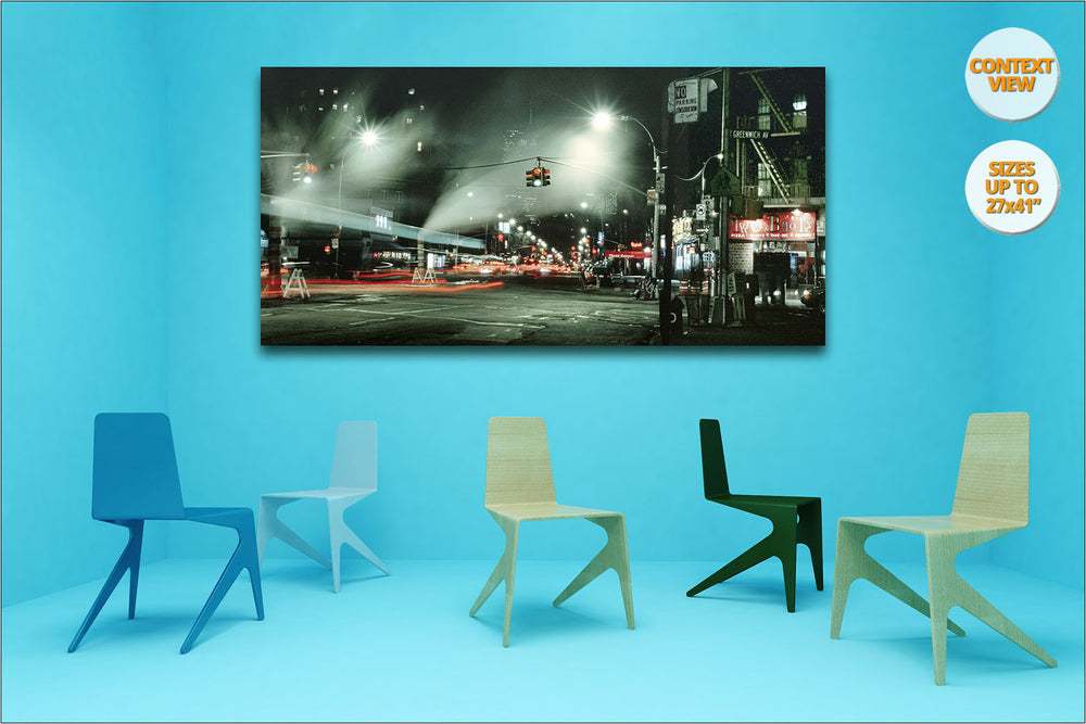Greenwich Village by night. | Panoramic Print hanged in meeting room.