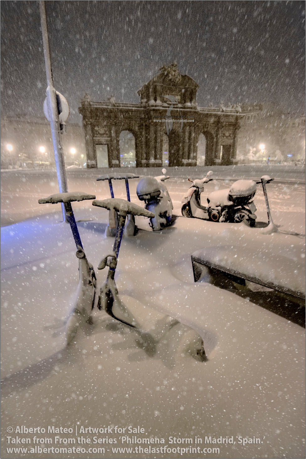 Puerta de Alcala during Filomena Winter Snow Storm, Madrid, Spain.