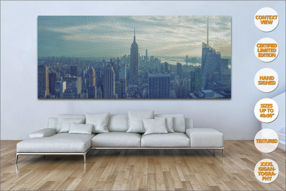 Panorama of Manhattan under the rain, New York, United States. | Over sofa.
