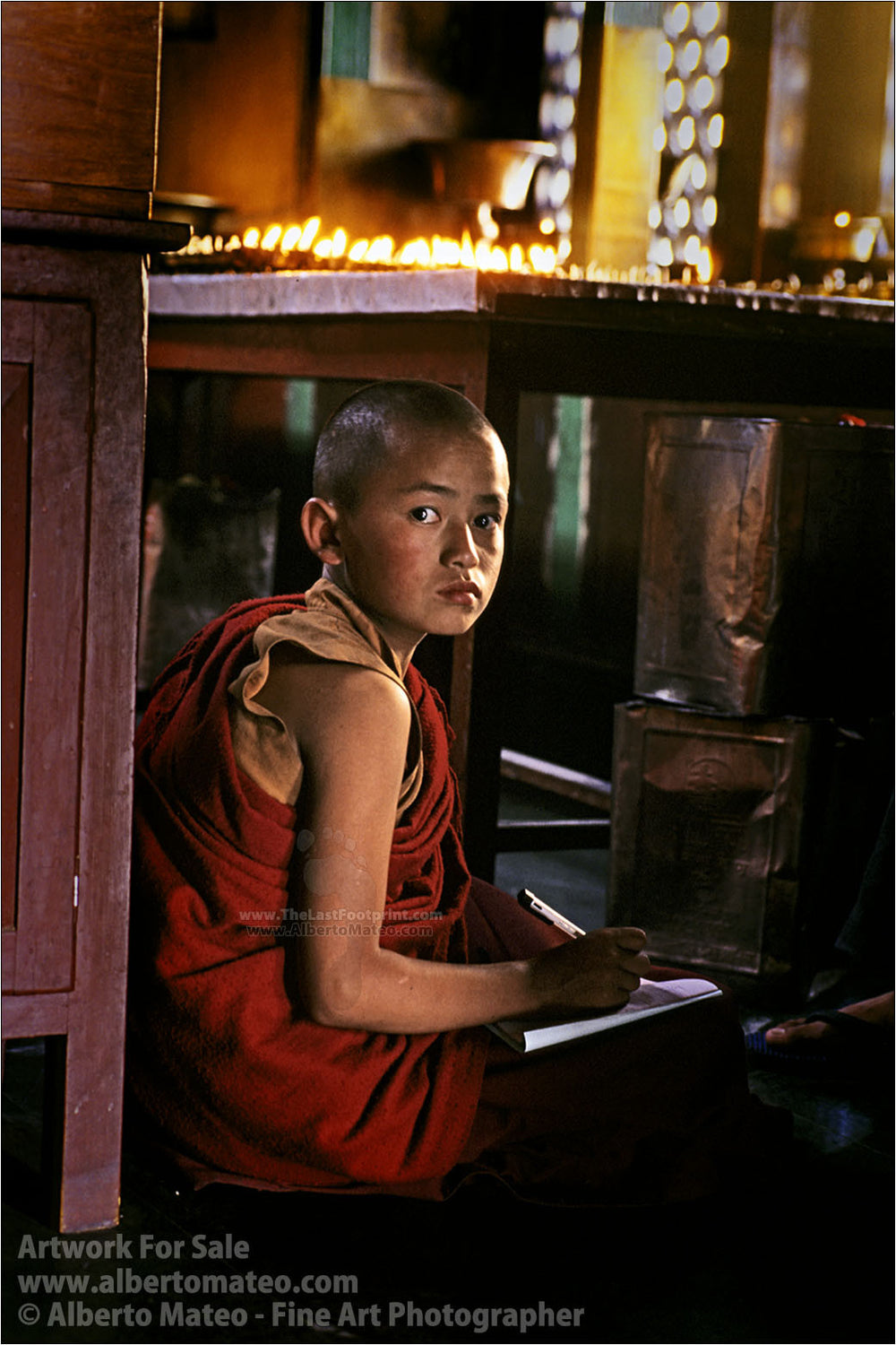 Monk Child doing homework, Swayambunath, Kathmandu. | Open Edition Fine Art Print.