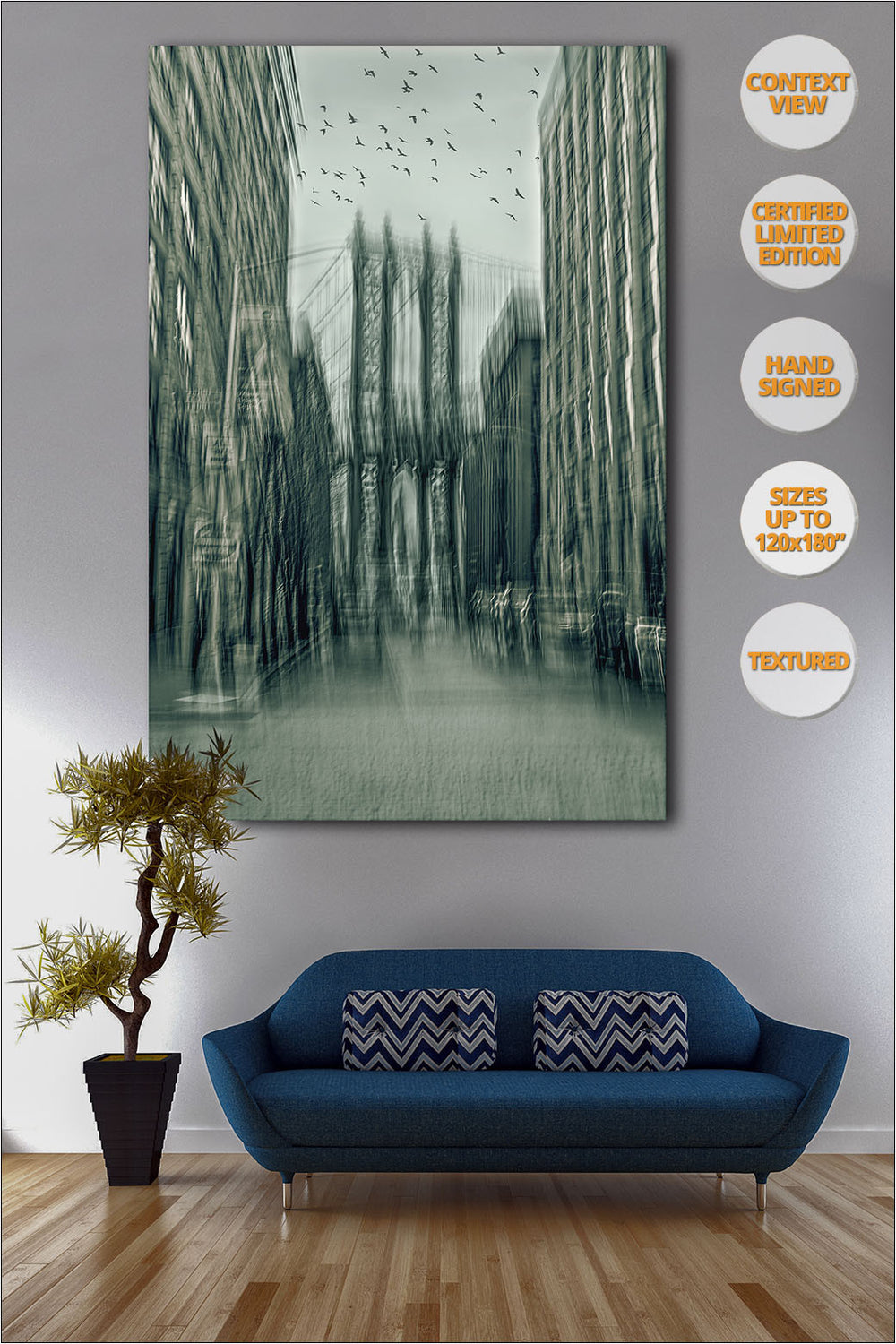 Manhattan Bridge, 'Way to Freedom' Series. | Print hanged over sofa.
