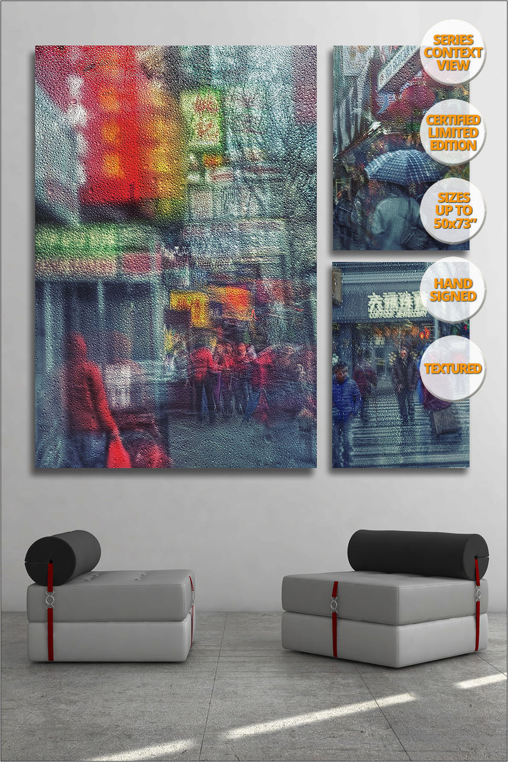 Rain in Chinatown, New York. [3/3] | New York Through the Rain Series. | Giant Print hanged in reading room.